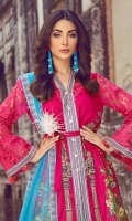 Digital Print Lawn Front 1.25m Digital Print Lawn Back 1.25m Dyed Embroidered Organza Sleeve 0.6m Dyed Embroidered Net Dupatta 2.5m Printed Cambric Trouser 2.5m Embroidered Border for Shirt 2.7m Embroidered Border for Dupatta 5m