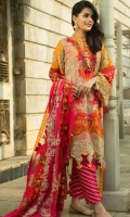 Front Dori Embroidered 1 Piece Front Motif 1 Pair Back Embroidered 1.25 Meter Sleeves Dori Embroidered 1 Pair Sleeves Border Embroidered 1 Pair Front Border Dori Embroidered 1 Piece Dupatta Dori Embroidered 2.5 Meter Dupatta Embroidered Lace 5 Meter Slip Fabric (Pure Silk) 2.25 Meter Trouser (Pure Silk) 2.5 Meter