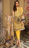 Embroidered Khaddi Net Front, Digital Printed Lawn Back & Sleeves, Digital Printed Silk Dupatta, Dyed Cotton Trouser, 2 Embroidered Patches, Inner
