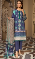 Embroidered and Digital Printed Lawn Shirt, Digital Printed Bamber Dupatta, Dyed Cotton