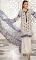 3PC Lawn Chikan Kari with Printed & Embroidered Chiffon Dupatta