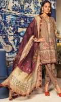 Shirt : Embroidered Fancy Yarn Dyed Front , Dyed Jacquard Back & Sleeves Trouser: Dyed Cotton Trouser with Embroidered Patch  Dupatta: Digital Printed Silk Dupatta