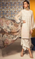 Shirt : Embroidered Cotton Net Shirt with Sequence Embroidered Patch for Sleeves & Shirt  Trouser: Dyed Raw Silk Trouser  Dupatta: Digital Printed Silk Dupatta