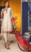 Shirt : Embroidered Lawn Front, Digital Printed Lawn Back & Sleeves  Trouser: Dyed Cotton Trouser with Embroidered Patch  Dupatta: Digital Printed Silk Dupatta