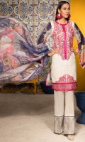 Shirt : Embroidered Lawn Front with Cut Work , Digital Printed Lawn Back & Sleeves  Trouser: Digital Printed Cotton Trouser  Dupatta: Digital Printed Textured Silk Dupatta