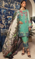 Shirt : Embroidered Lawn Front , Digital Lawn Printed Sleeves, Dyed Jacquard Back  Trouser: Digital Printed Cotton Trouser with Embroidered Patch  Dupatta: Digital Printed Silk Dupatta