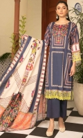 Shirt Fabric: Lawn | Shirt Size: 1.75 meters Dupatta Fabric: Lawn | Dupatta Size: 2.5 meters Trouser Fabric: Cotton | Trouser Size: 2.5 meters