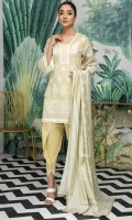 Shirt Fabric: Lawn   Shirt Size: 1.75 meters Dupatta Fabric: Lawn   Dupatta Size: 2.5 meters Trouser Fabric: Cotton   Trouser Size: 2.5 meters