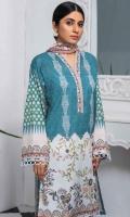 Shirt Fabric: Lawn | Shirt Size: 1.75 meters Dupatta Fabric: Chiffon | Dupatta Size: 2.5 meters Trouser Fabric: Cotton | Trouser Size: 2.5 meters