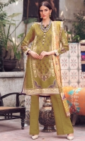 Shirt Fabric: Khaddar   Shirt Size: 3 meters Dupatta Fabric: Khaddar   Dupatta Size: 2.5 meters Trouser Fabric: Khaddar   Trouser Size: 2.5 meters