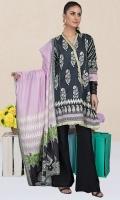 Shirt Fabric: Lawn   Shirt Size: 3 meters Dupatta Fabric: Lawn   Dupatta Size: 2.5 meters Trouser Fabric: Lawn   Trouser Size: 2.5 meters