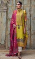 Dhani green floral motif corner dropped style block printed shirt with heavy border & fabric button details. Comes with magenta block printed dupatta.
