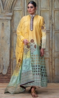 Sunny yellow and turquoise poppy floral motif long block printed a-line panel shirt with turquoise block printed dupatta and plain pants