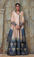 An eclectic combination of nude and charcoal grey. This tie & dye block printed formal long angarkha shirt is adorned with crystal tassel details. Comes with block printed dupatta and statement pants.