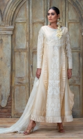 An ethereal off-white block & screen printed pishwas with formal thread & pearlwork embroiderey & heavy frill detail. The back is adorned with hand embroidered pearl work cutout statement motif. Comes with block printed dupatta & plain pants.