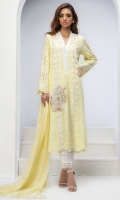 LEMON YELLOW COTTON CHIKAN TUNIC. EMBROIDERED WITH RESHAM WORK, GOLD LEATHER APPLIQUE & HEAVY 3D FLOWERS DETAILS.