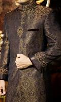 Deep purple pure atlas fabric sherwani designed with heritage look zardozi work applying on collar sleeves and button highlighted velvet bone wallet.