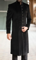 Made to measure Velvet formal sherwani in black
