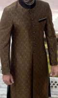 Self jamavar brown color fabric sherwani designed with contrast velvet stitching detail treatment applying on collar buttons and valet.