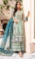 EMBROIDERED NET SHIRT FRONT 24 INCHES EMBROIDERED NET EXTENSION 12 INCHES EMBROIDERED NET SHIRT BACK 34 INCHES FRONT AND BACK BORDER PATCH 66 INCHES SLEEVES 22 INCHES ORGANZA GOLD PRINT DUPATTA 2.5 YDS EMBROIDERED DUPATTA PATCH 2.5 YDS RAWSILK EMBROIDERED TROUSER 2.5 YDS