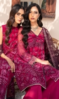 EMBROIDERED CRINKLE CHIFFON FRONT 36 INCHES EMBROIDERED CRINKLE CHIFFON BACK 36 INCHES CRINKLE CHIFFON SLEEVES 22 INCHES SLEEVES PATCH 40 INCHES EMBROIDERED ORGANZA DUPATTA 2.65 YDS RAWSILK TROUSER 2.5 YDS