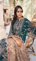 EMBROIDERED CRINKLE CHIFFON FRONT 24 INCHES EMBROIDERED CRINKLE EXTENSION 12 INCHES CRINKLE CHIFFON BACK 36 INCHES EMBROIDERED BACK PATCH 36 INCHES CRINKLE CHIFFON SLEEVES 22 INCHES SLEEVES PATCH 40 INCHES EMBROIDERED CRINKLE CHIFFON DUPATTA 2.75 YDS EMBROIDERED DUPATTA PATCH 5.5 YDS RAWSILK TROUSER 2.5 YDS