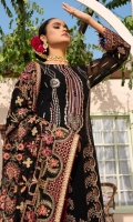 EMBROIDERED CRINKLE CHIFFON SHIRT 30 INCHES EMBROIDERED CRINKLE CHIFFON BACK 30 INCHES BACK BORDER PATCH 36 INCHES CRINKLE CHIFFON SLEEVES 22 INCHES SLEEVES PATCH 40 INCHES EMBROIDERED CRINKLE CHIFFON DUPATTA 2.75 YDS RAWSILK TROUSER 2.5 YDS