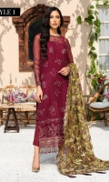 EMBROIDERED CRINKLE CHIFFON FRONT 36 INCHES EMBROIDERED CRINKLE CHIFFON BACK 36 INCHES EMBROIDERED FRONT AND BACK PATCH 72 INCHES CRINKLE CHIFFON SLEEVES 22 INCHES SLEEVES PATCH 40 INCHES NET EMBROIDERED DUPATTA 2.75 YDS RAWSILK TROUSER 2.5 YDS