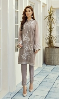This 2 pc pure crinkle embroidered shirt feature soft hues along with raw silk trousers including linning & accessories.