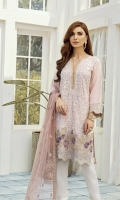 This 3 pc pure crinkle chiffon embroidered shirt feature soft tones, along with net embroidered chiffon dupata along with contrasting raw silk trousers including linning & accessories.