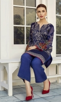 This 2 pc khadi net embroidered shirt features striking hues along with raw silk trousers including linning & accessories.