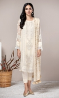 This 3 PC Pure Crinkle Chiffon embroidered Shirt, Jamawar Chiffon Dupatta, Raw Silk Trouser & accessories.
