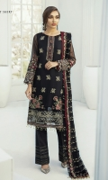 EMBROIDERED CRINKLE CHIFFON SHIRT FRONT 25 INCHES EMBROIDERED CRINKLE CHIFFON EXTENSION FRONT 12 INCHES EMBROIDERED CRINKLE CHIFFON SHIRT BACK 36 INCHES EMBROIDERED ORGANZA FRONT & BACK BORDER PATCH 72 INCHES EMBROIDERED CRINKLE CHIFFON SLEVEES 22 INCHES EMBROIDERED ORGANZA SLEVEES PATCH 40 INCHES EMBROIDERED CRINKLE CHIFFON DUPATTA 2.50 YARDS RAW SILK TROUSER 2.50 YARDS