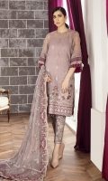EMBROIDERED ORGANZA FRONT 26 INCHES EMBROIDERED ORGANZA EXTENTION 12 INCHES EMBROIDERED ORGANZA BACK 36 INCHES ORGANZA FRONT BACK PATCH 72 INCHES SLEEVES 20 INCHES SLEEVES PATCH 40 INCHES EMBROIDERED CHIFFON DUPATTA 2.65 YARDS EMBROIDERED RAWSILK TROUSER 2.5 YARDS