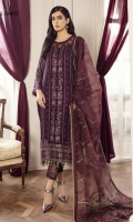 EMBROIDERED CHIFFON CRINKLE FRONT 36 INCHES EMBROIDERED CHIFFON CRINKLE BACK 36 INCHES ORGANZA FRONT & BACK PATCH 72 INCHES EMBROIDERED CHIFFON SLEEVES 20 INCHES FRONT, DUPATTA & SLEEVES PATCH 7.5 YARDS EMBROIDERED ORGANZA DUPATTA 2.65 YARDS EMBROIDERED TROUSER PATCH 1 PC RAWSILK TROUSER 2.5 YARDS