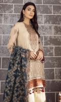 EMBROIDERED CRINKLE CHIFFON FRONT 36 INCHES EMBROIDERED CRINKLE CHIFFON BACK 36 INCHES EMBROIDERED FRONT & BACK PATCH 72 INCHES EMBROIDERED ORGANZA DUPATTA 2.65 YARDS SLEEVES 20 INCHES ORGANZA NECK PATCH 1 PC RAWSILK TROUSER 2.5 YARDS