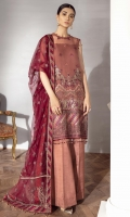 EMBROIDERED CHIFFON CRINKLE FRONT 36 INCHES EMBROIDERED CHIFFON CRINKLE BACK 36 INCHES FRONT & BACK PATCH 72 INCHES NECK PATCH 36 INCHES EMBROIDERED CHIFFON SLEEVES 22 INCHES ORGANZA SLEEVES PATCH 40 INCHES EMBROIDERED NET DUPATTA 2.65 YARDS RAWSILK TROUSER 2.5 YARDS