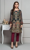 This 2 PC Pure crinkle chiffon embroidered shirt, features deep tones along with contrasting Raw silk trousers & accessories.
