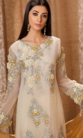Embroidered front 0.87 yard chiffon  Embroidered back 0.87 yard chiffon  Embroidered front+back lace 2 yard net  Embroidered sleeve 0.75 yard chiffon  Embroidered sleeve lace 1 yard net  Embroidered dupatta 2.5 yard chiffon  Embroidered trouser 2.5 yard Raw silk