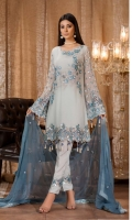 Embroidered front 0.87 yard chiffon  Embroidered back 0.87 yard chiffon  Embroidered front+back lace 2 yard net  Embroidered sleeve 0.75 yard chiffon  Embroidered sleeve lace 1 yard net  Embroidered dupatta 2.5 yard chiffonTrouser lace 1 yard net  Raw silk trouser 2.5 yard
