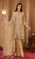 Embroidered front 0.87 yard chiffon  Embroidered back 0.87 yard chiffon  Embroidered front lace 1 piece net  Embroidered back+bazo lace 2 yard net  Embroidered sleeve 0.75 yard chiffon  Embroidered dupatta 2.5 yard chiffon  Trouser 2.5 yard jaquard
