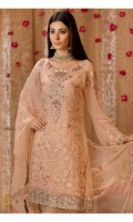 Embroidered front 0.87 yard chiffon  Embroidered back 0.87 yard chiffon  Embroidered front+back lace 2 yard net  Embroidered sleeve 0.75 yard chiffon  Embroidered dupatta 2.5 yard chiffon  Embroidered Trouser lace 1 yard net  Trouser 2.5 yard Raw silk
