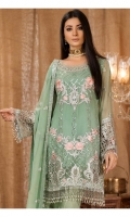 Hand made gala patch 1 piece net  Embroidered front 0.87 yard chiffon  Embroidered back 0.87 yard chiffon  Embroidered front+back lace 2 yard net  Embroidered sleeve 0.75 yard chiffon  Embroidered sleeve lace 0.75 yard net  Embroidered dupatta 2.5 yard chiffon  Raw silk trouser 2.5 yard