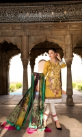 Digital Printed Embroidery Lawn Front.  Digital Printed Lawn Back.  Digital Printed Lawn Sleeves.  Digital Printed Pure Chiffon Dupatta.  Dyed Cotton Lawn Trouser.