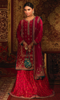 'Ghazal' is a fusion of tradition and modernity, this pure raw silk shirt in fuschia pink is adorned with intricate details of kora, dabka and resham is perfect for the wedding season. It comes with a medium silk dupatta with heavy embroidery on borders and booti. A matching banarsi dhaka pajama is added with exquisite handwork on borders. This outfit is complimented with an accent paltawa in teal color. It comes with a hand-embellished pouch in teal to add finesse to the look.