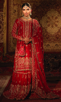 This traditional red bridal outfit brings the tales of our heritage along with it. This dress is crafted on pure raw silk featuring heavy hand embroidery with detailed zardoze and resham work. It is a graceful combination of red farshi gharara (without trail) and a mid length shirt on a precise composition of mehrab with florals and geometrics to make a perfect blend. The back neckline is given more detail by a handmade heavy tassel. It is complimented by an exquisitely handcrafted red dupatta in medium silk with heavy mathapati, booti and borders. The dress is finished with a contrasting emerald green banarsi fabric, hanging gemstones and pearls. A handcrafted alluring pouch in pure raw silk comes to add a little more perfection to the outfit.