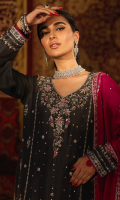 'Mahjabeen' is an ash grey heavy formal done to perfection. It is a pure raw silk kameez with a well composed floral pattern hand embroidered in gold and silver with touches of fuschia pink resham and accented pink paltawa. It is paired with pure raw silk straight pants and heavily embroidered fuschia pink raw silk dupatta and chan booti with pearl finishing. A customized pouch can be added to the outfit upon request.