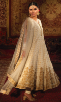 'Nargis' is an old school yet chic white banarsi silk kalidaar with detailed embellishments. The hem is finished with Mughal motifs adorned with heavy zardoze work. This alluring outfit is coordinated with a matching net dupatta consisting of intricately embroidered borders. Enhance the charm by pairing it up with white raw silk churidar pajama. A customized pouch can also be added upon your request.