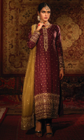 'Azal' has a straight long silhouette in plum, giving it a regal and timeless appeal. The Mughal inspired mehraab motif on daman and dupatta are enhanced by fine handcraftmanship of aari, kora, dabka and mirror work. The understated charm of the garment is enriched by elaborate olive green net dupatta with embroidered borders and overall chan and booti. It is paired with a plum pure banarsi silk churidaar pajama, completing the look with same banarsi finishing on dupatta and shirt. A customized pouch can be made on order to complete the look.