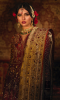 The most regal and traditional front open kalidaar in a deep crimson, embellished heavily with zardoze and resham. This kalidar is paired with a matching flary banarsi lehenga. The intricate embroidery with traditional detailing is done on a theme of birds and florals and rust double toned banarsi edgings adds to the wonderful flared cut. It is complemented by a gold tissue silk dupatta that is heavily embellished with handcrafted booties and borders. An exclusive gold tissue silk with handwork is added to give a complete look.